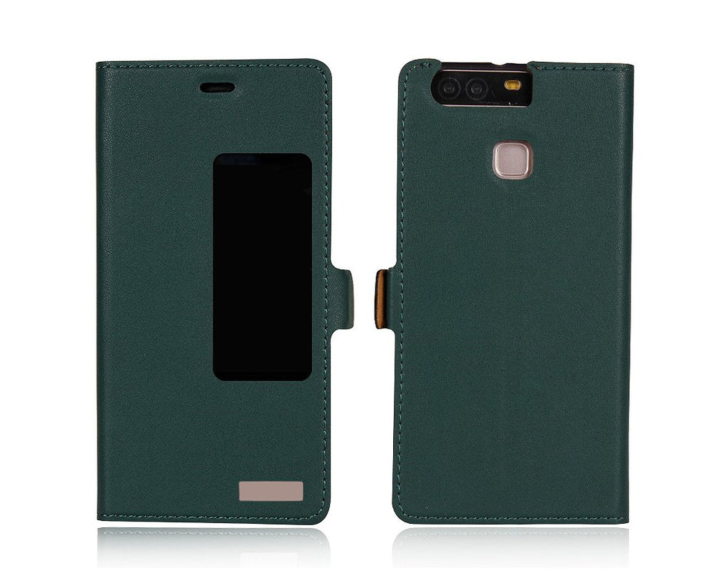 Smart Series Huawei P9 Genuine Leather Case - Green