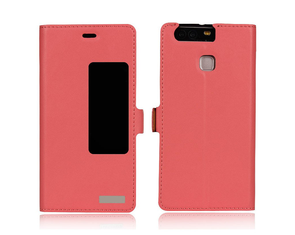 Smart Series Huawei P9 Genuine Leather Case - Pink