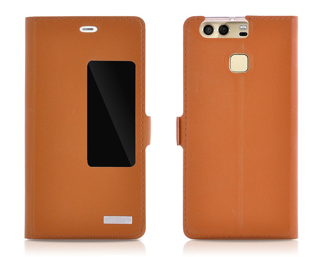 Smart Series Huawei P9 Genuine Leather Case - Brown