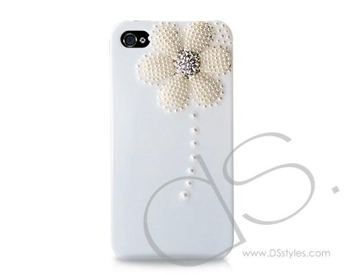 3D Pearl Flower Series iPhone 4 and 4S Crystal Case - White