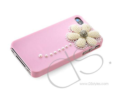 3D Pearl Flower Series iPhone 4 and 4S Crystal Case - Pink
