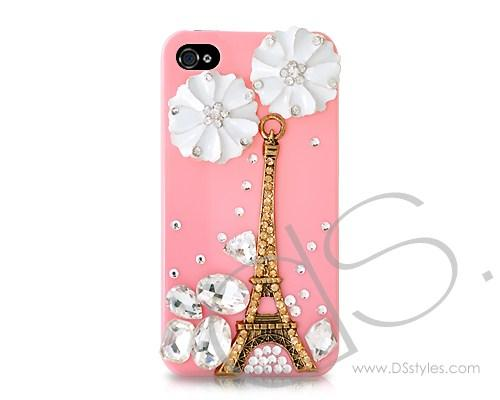 3D Eiffel Tower Series iPhone 4 and 4S Crystal Case - Pink