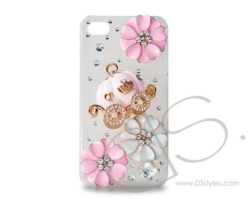 3D Pumpkin Series iPhone 4 and 4S Crystal Case - White Pink
