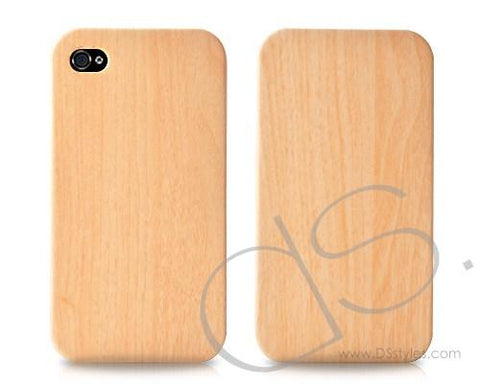 Wooden Series iPhone 4 and 4S Leather Flip Case - Light Brown