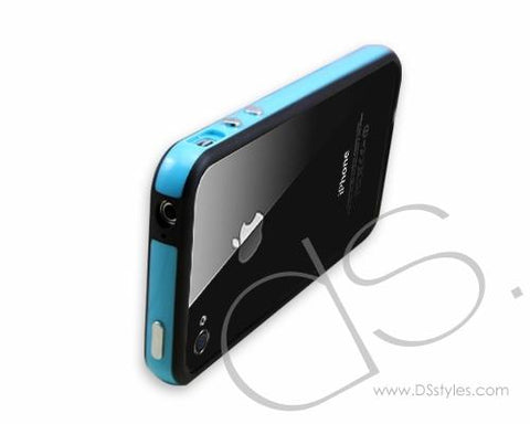 Fluorescence Series iPhone 4 and 4S Bumper Silicone Case - Black Blue