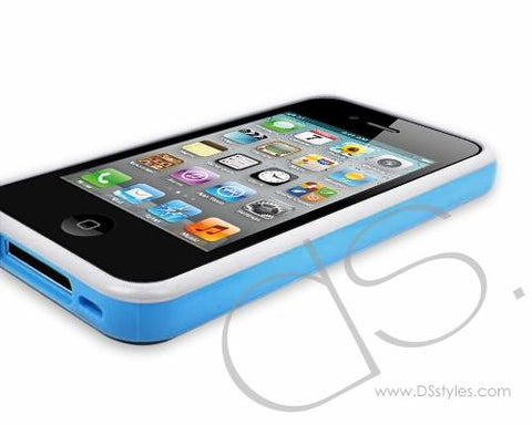 Fluorescence Series iPhone 4 and 4S Bumper Silicone Case - White Blue
