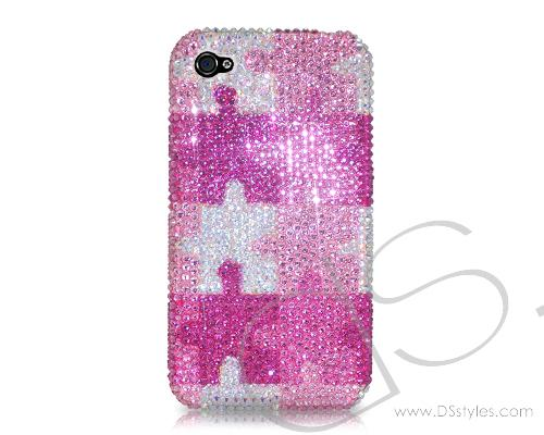 Pattern Color Puzzle Bling Swarovski Crystal Phone Cases - Pink