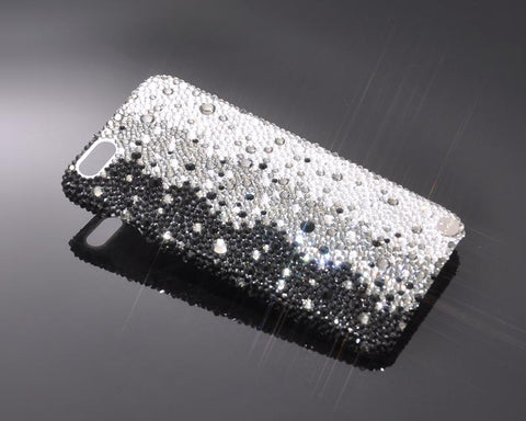 Gradation Bling Swarovski Crystal Unusual iPhone 12 Cases - Graphite Black