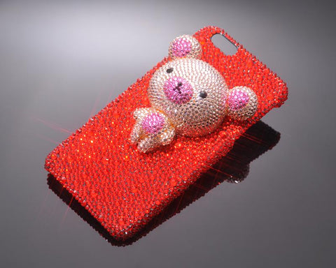 3D Bear Bling Swarovski Crystal Phone Cases - Red & Orange