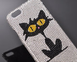 Catty Bling Swarovski Crystal Phone Cases - Black