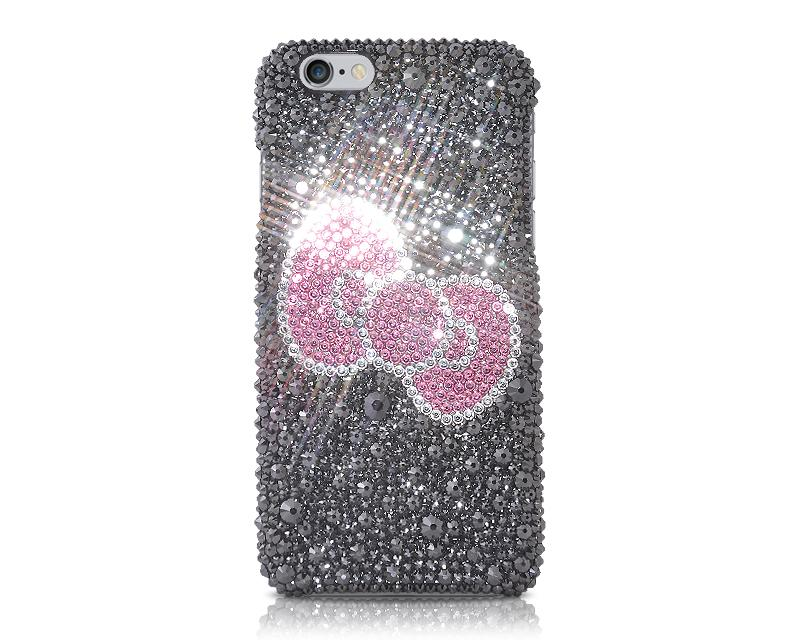 Kitty Ribbon Bling Swarovski Crystal Phone Cases - Black