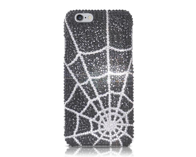 Pattern Spider Web Bling Swarovski Crystal Phone Cases - Silver