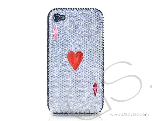 Poker Heart Ace Bling Swarovski Crystal Phone Cases