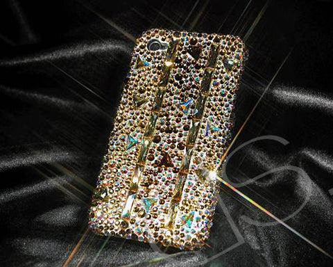 Cubic Stitching Gold Bling Swarovski Crystal iPhone 12 Cases
