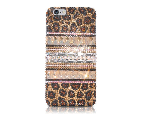 Leopardo Cubical Stripe Bling Swarovski Crystal iPhone 8 Plus Cases - Brown