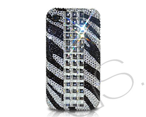 Zebra Cubical Bling Swarovski Crystal Phone Cases - Black