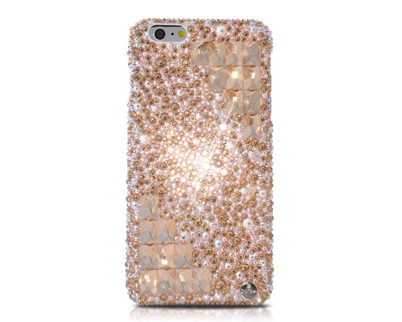 Cubic Symmetric Bling Swarovski Crystal Phone Cases - Gold