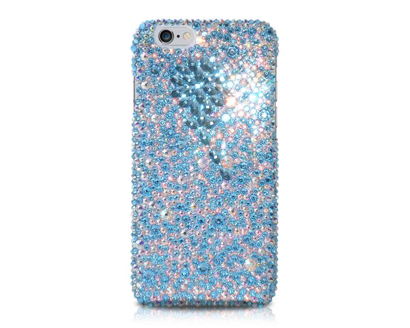 Diamond Flower Bling Swarovski Crystal Phone Cases - Blue