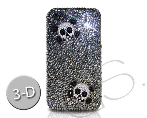 Skull Two 3D Bling Swarovski Crystal Phone Cases - Black