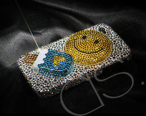 Smile Ice Cream 3D Bling Swarovski Crystal Phone Cases - Silver