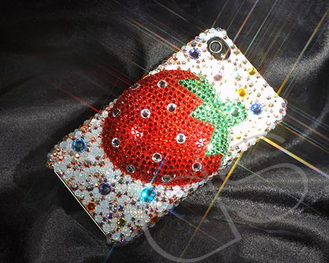 Strawberry 3D Bling Swarovski Crystal Phone Cases - Red