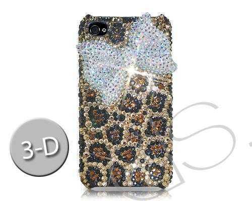 Ribbon Bow Bling Swarovski Crystal iPhone 8 Cases - Leopardo White