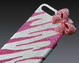 Elegant Ribbon 3D  Bling Swarovski Crystal Phone Cases - Pink