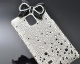 Ribbon Bow Bling Swarovski Crystal Phone Cases - Black & White