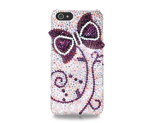 Ribbon Bow Bling Swarovski Crystal Phone Cases - Purple