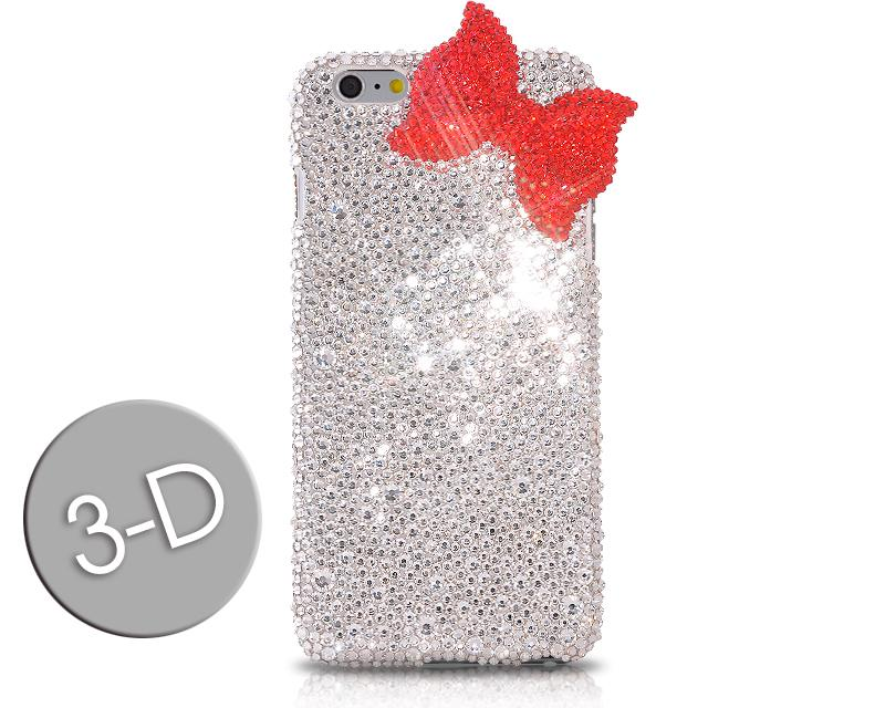 Ribbon Bow Bling Swarovski Crystal Phone Cases - Red & White