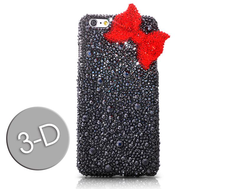 Ribbon Bow Bling Swarovski Crystal Phone Cases - Red & Black