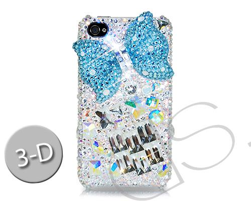 Ribbon Bow Bling Swarovski Crystal Phone Cases - Cubical Blue