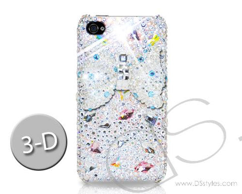 Ribbon Bow Bling Swarovski Crystal Phone Cases - White