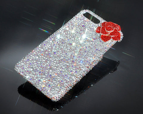 Rose Flower Bling Swarovski Crystal Phone Cases - White