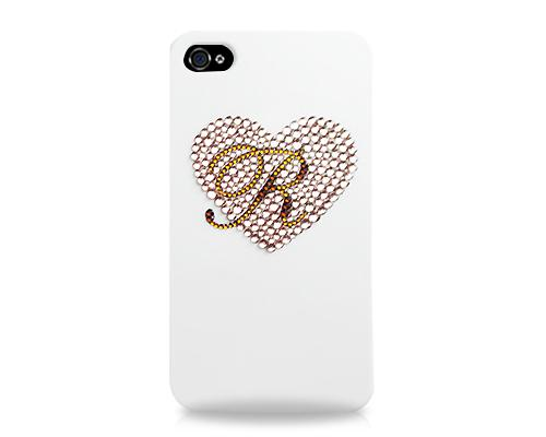 Personalized Heart Bling Swarovski Crystal Phone Cases - White