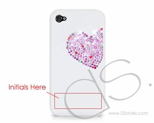 Personalized Love Heart Bling Swarovski Crystal Phone Cases - Pink