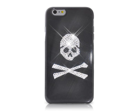 Skull Crossed Bling Swarovski Crystal Phone Cases - White