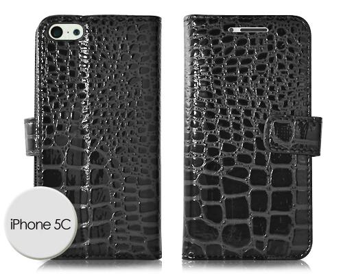 Krokodil Series iPhone 5C Flip Leather Case - Black