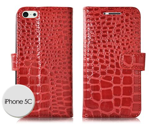 Krokodil Series iPhone 5C Flip Leather Case - Red
