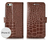 Krokodil Series iPhone 5C Flip Leather Case - Brown