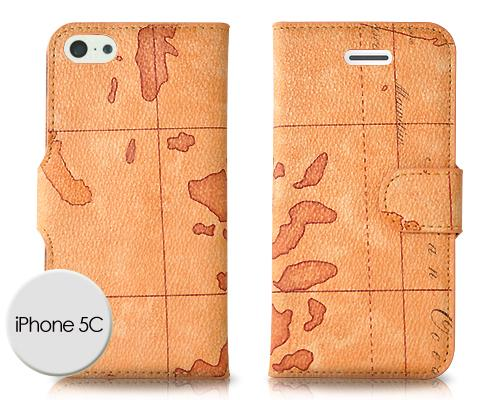 Map Series iPhone 5C Flip Leather Case - Deep Brown