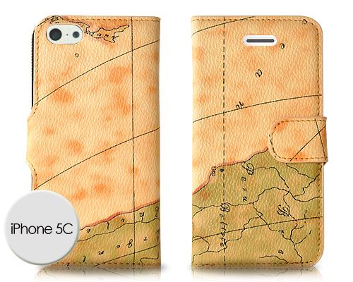 Map Series iPhone 5C Flip Leather Case - Light Brown