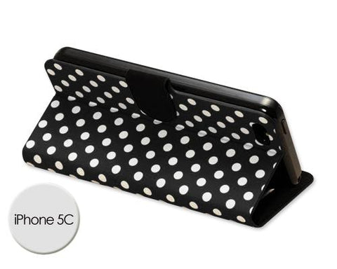 Spot Series iPhone 5C Flip Leather Case - Black