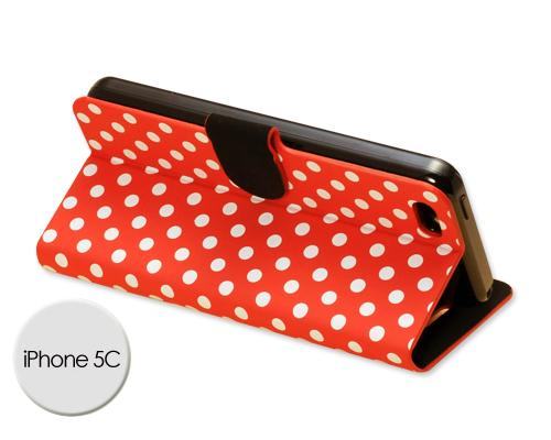 Spot Series iPhone 5C Flip Leather Case - Red