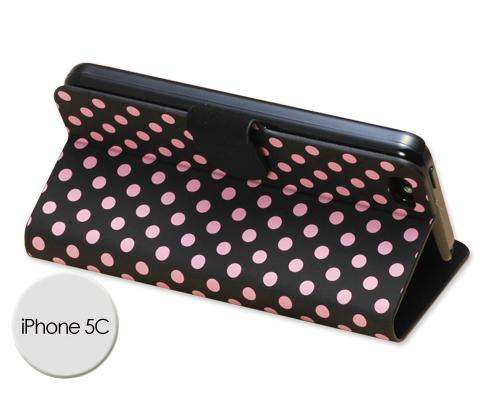 Spot Series iPhone 5C Flip Leather Case - Pink Dots