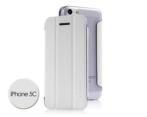 Veins Series iPhone 5C Flip Leather Case - White