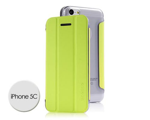 Veins Series iPhone 5C Flip Leather Case - Green