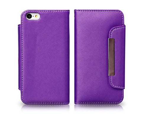 Wallet Series iPhone 5C Flip Leather Case - Purple