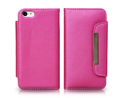 Wallet Series iPhone 5C Flip Leather Case - Magenta