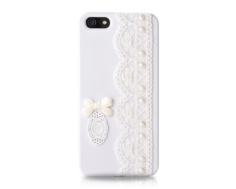 Lace Pearl Series iPhone 5 and 5S Case - Bow White